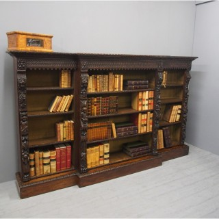 Flemish Carved Oak Breakfront Open Bookcase