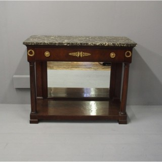 Empire Style Mahogany and Marble Side Table