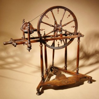 A Compleet Decorative French Elegant Fruit Wood Spinning Wheel circa 1850