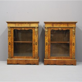 Pair of Victorian Walnut Marquetry Inlaid Pier Cabinets