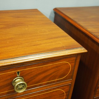 Pair of George III Mahogany and Inlaid Chest of Drawers