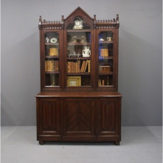 Gothic Scottish Pitch Pine Cabinet Bookcase
