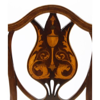 Antique Pair of Edwardian Inlaid Mahogany Side Chairs c.1900