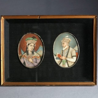 TWO FRAMED INDIAN PORTRAIT MINIATURES OF MUGHAL RULERS