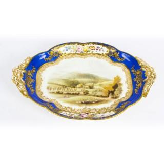 Antique Royal Worcester Porcelain Landscape Dish 19th Century