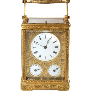 Early Engraved Date Alarm Carriage Clock by Leroy