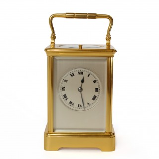 Striking Carriage Clock with rare silvered dial