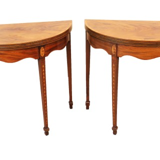 18th Century Pair Of Mahogany Demi Lune Shaped Card Tables