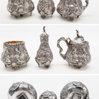 Antique Silver Condiment Set