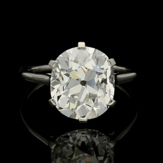 Cartier Diamond Solitaire Ring with a 6.06ct Old Mine Brilliant Cut Diamond Claw in Platinum