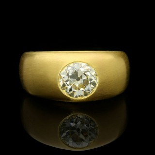 Hancocks 22ct Satin-finish Yellow Gold Gypsy-set Band Ring with a 1.65ct Old Mine cut Diamond