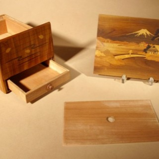 Antique Japanese Finally Inlaid Marquetry  Box With  Mount Fuji and Secret Compartment Drawer and Lock System circa: 1920