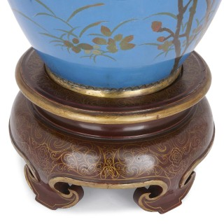 Very large Japanese Meiji period enamel vase