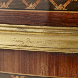 Gilt bronze mounted tulipwood, sycamore and marquetry writing table by Dasson