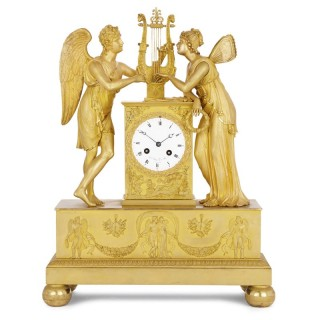 Empire period gilt bronze clock with Cupid and Psyche by Le Roy et fils