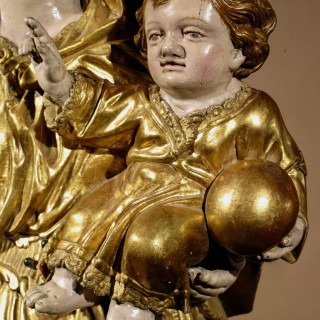A finely carved and original gilded Sculpture of Madonna and child, circa 1760