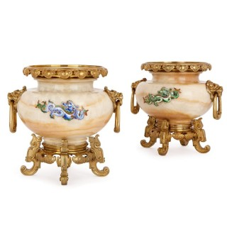 Two gilt bronze mounted, enamelled onyx urns by H. Journet & Cie