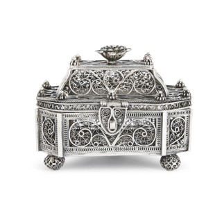 Antique Jewish silver filigree spice box, Moscow