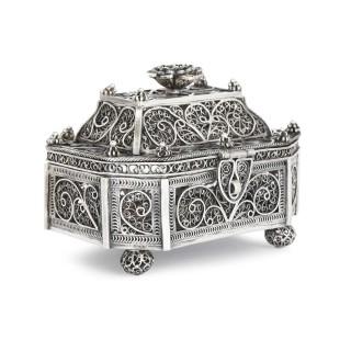 Antique Jewish silver filigree spice box, Moscow