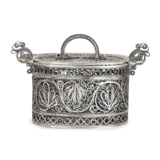 19th Century Judaica silver spice box
