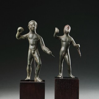 Two Ancient Romano-British Bronze Votive Figures of the Hero Heracles / Hercules