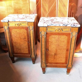 Pair of French Marble Top Cabinets