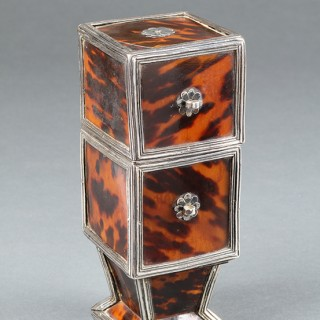 Spanish Colonial South American Colombian Silver Mounted Wood Lined Tortoiseshell Tobacco Leaf and Cigar Box