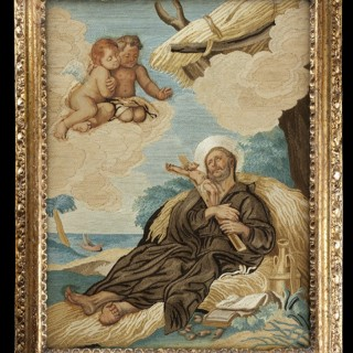 Spanish Embroidered and Painted Silk Panel Depicting the Jesuit Saint Francis Xavier