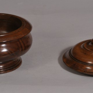 Antique Treen 19th Century Yew Wood Lidded Bowl