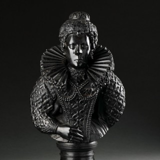 English North Country Cannel Coal Bust of Queen Elizabeth I