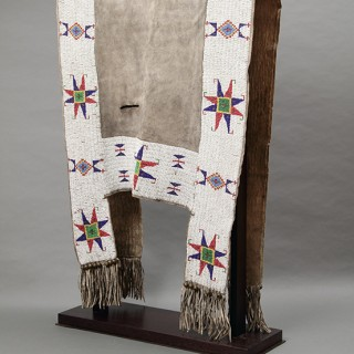 Plains Native American Ute Beaded Native Tanned Buffalo Hide 'H' Shaped Saddle Blanket
