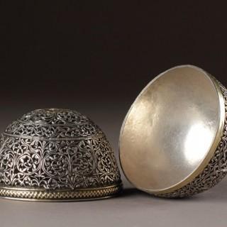 Rare Indo-Portuguese Goa Silver Filigree Bezoar Stone Case
