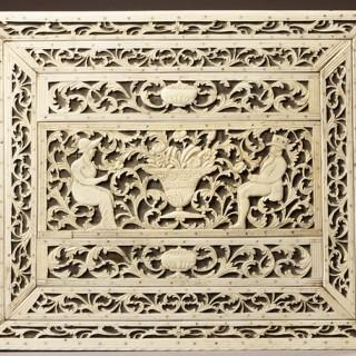 Russian Archangel Carved Whalebone Box