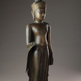 Thailand Ayutthaya Kingdom Devotional Figure of the Crowned Standing Buddha