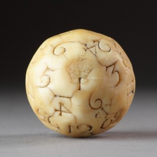 Rare Early English Carved Walrus Ivory Lottery or Teetotum Gambling Ball