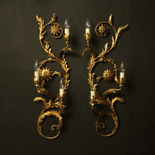 Florentine Pair Of Gilded 3 Arm Wall Lights