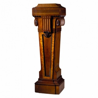 BURR AMBOYNA AND SATINWOOD PEDESTAL ATTRIBUTED TO WRIGHT & MANSFIELD
