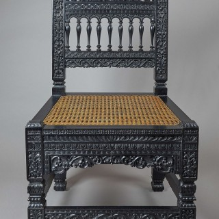 A 19th Century Anglo-Indian Ebonised Side Chair