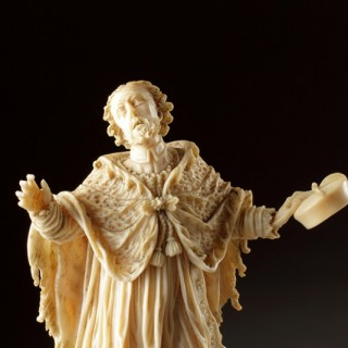 Austrian Carved Ivory Statue of the Martyred Bohemian Saint John Nepomuk