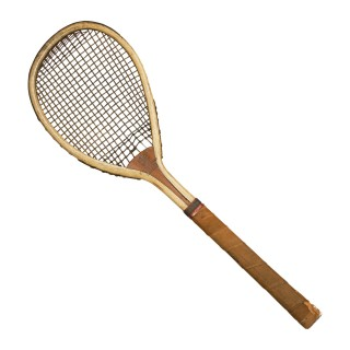 Antique Feltham Lawn Tennis Racket, Lop Sided.
