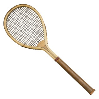 Antique Lawn Tennis Racket, Alexandra. Lop Sided.