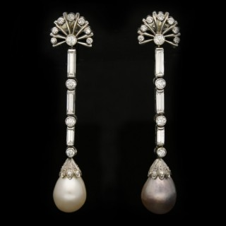 Vintage natural pearl and diamond earrings, circa 1950.