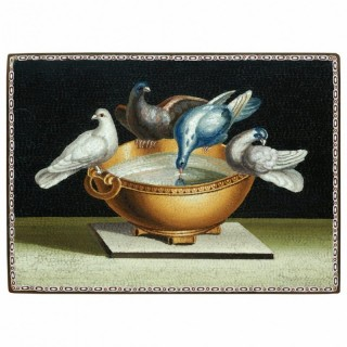 MICROMOSAIC PLAQUE WITH THE DOVES OF PLINY, GIACOMO RAFFAELLI, 1800, ROME, ITALY.
