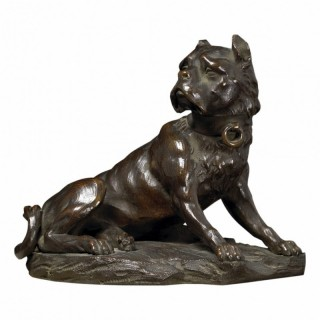 EARLY 19TH CENTURY FRENCH BRONZE MASTIFF DOG SCULPTURE