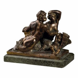 TRITON AND NEREID PATINATED BRONZE SCULPTURE