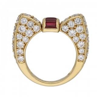 Van Cleef & Arpels ruby and diamond ring, circa 1960.