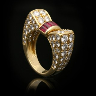 Van Cleef & Arpels ruby and diamond ring, circa 1960.