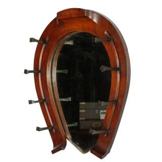 Edwardian Oak Horse Shoe Mirror