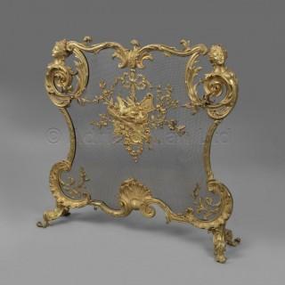 A Rare Louis XV Style Gilt-Bronze Figural Firescreen