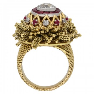 Vintage diamond and ruby ring by Sterlé, circa 1950.